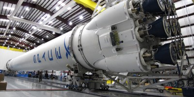 falcon 9 rocket in the hangar